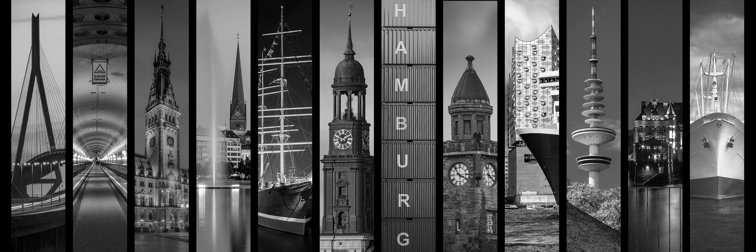 Hamburg collage 13.0 Graustufen by stativkunst.de