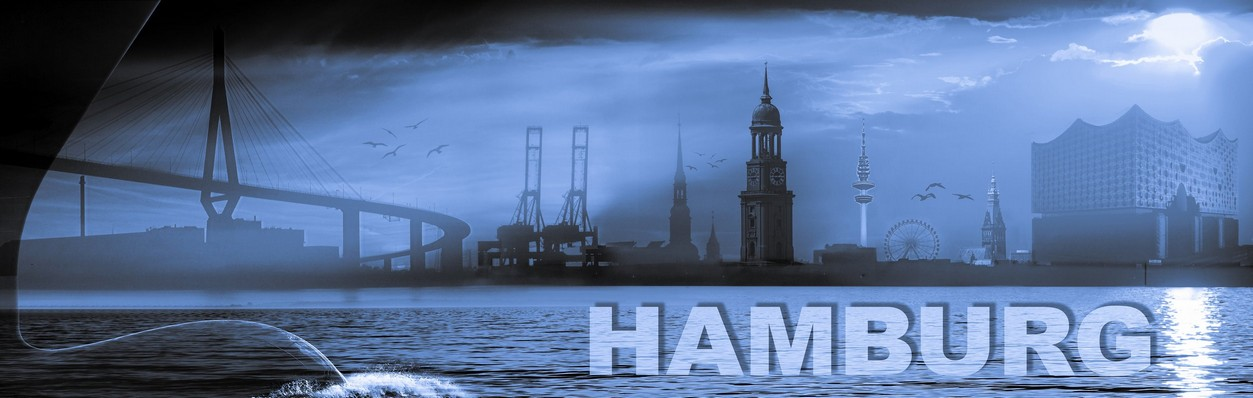 Hamburg collage 2.0 blau by stativkunst.de