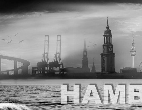 Hamburg collage 2.0 grau by stativkunst.de
