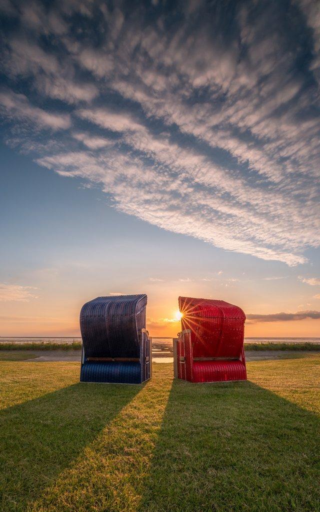 Strankörbe Sunset Friedrichskoog_2_Spiel mit der Sonne